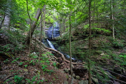 Distant view of Denny falls within Denny cove in south Cumberland State Park in Tennessee