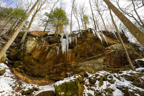 hemlock cliffs icicles winter hiking trail hoosier national forest indiana