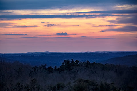 twilight over hills of southern indiana surrounding o'bannon woods state park