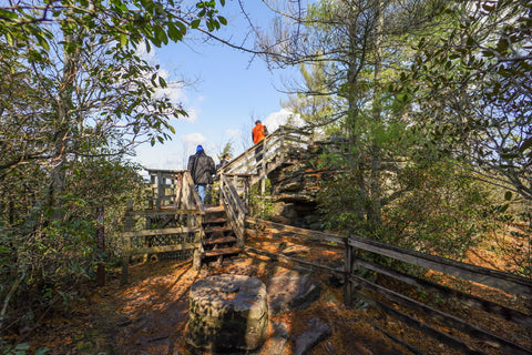 staircase heading onto the erwins view platform of linville falls in the linville gorge wilderness