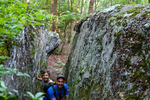 hiking through split rock in grayson highlands, virginia