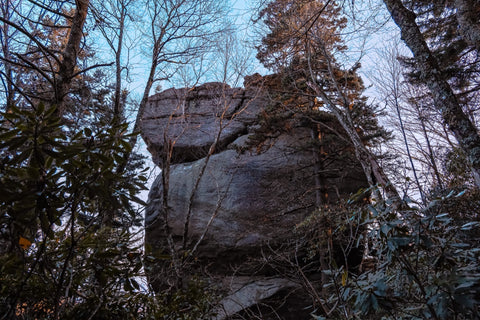 view of stack rock in the early morning on the tanawha trail along the blue ridge parkway