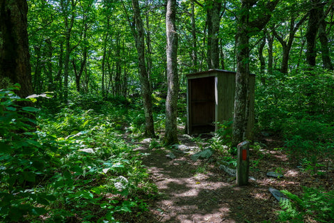 trail shelter along the twin pinnacles trail in grayson highlands state park in virginia