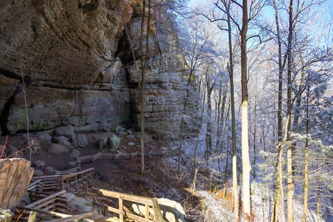 rockshelter within natural arch in daniel boone national forest