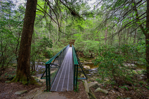 Crossing bridge over little gizzard creek in foster falls within south Cumberland State Park in Tennessee