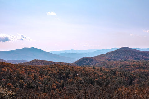 the blue ridge mountains seen from an overlook on the blue ridge parkway in north carolina