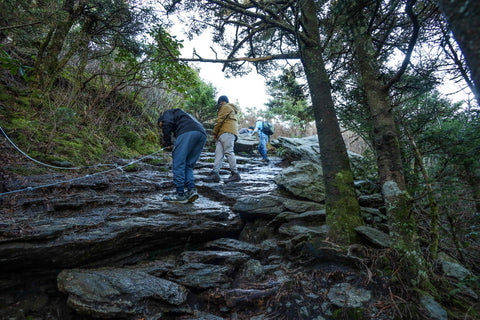 hikers using steel wire ropes to climb cliffs leading to macrae peak on grandfather mountain