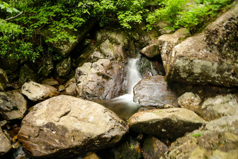 small cascading waterfalls along the cabin creek trail in grayson highlands state park in virginia