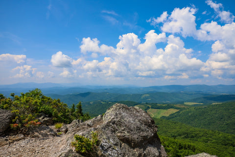 summit of big pinnacle along the twin pinnacles trail in grayson highlands state park in virginia