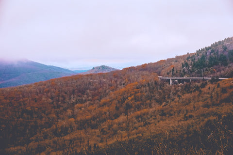 view of the linn cove viaduct surrounding grandfather mountain from the cliffs of rough ridge