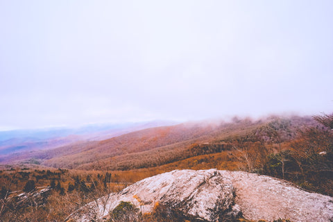 foggy morning view of the blue ridge mountains from rough ridge