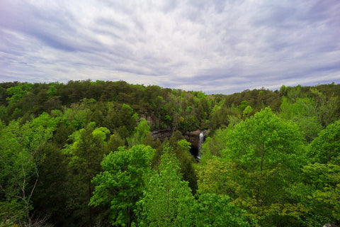 Distant view overlook of Foster Falls waterfall in South Cumberland State Park Tennessee