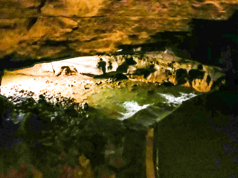 small waterfall inside bluespring caverns indiana
