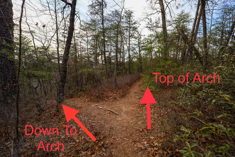 Finding the hidden trail to descend into star gap arch in red River gorge Kentucky
