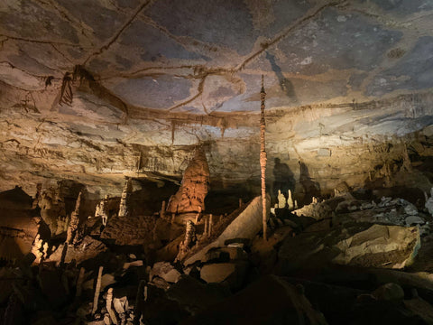 the improbable stalagmite rock formation within cathedral caverns state park alabama