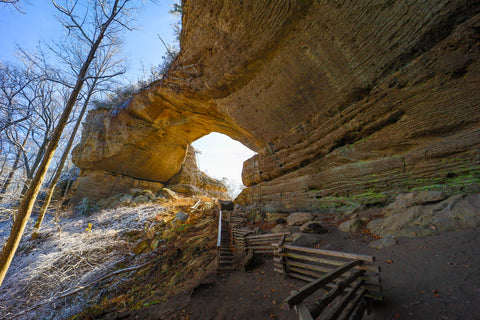 natural arch scenic area during winter