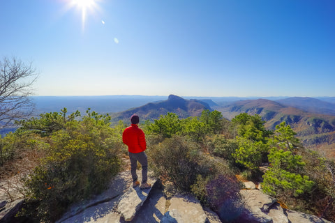 panoramic view of the linville gorge wilderness from atop hawksbill mountain