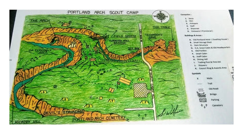 map of old boy scout campsite in portland arch nature preserve in indiana