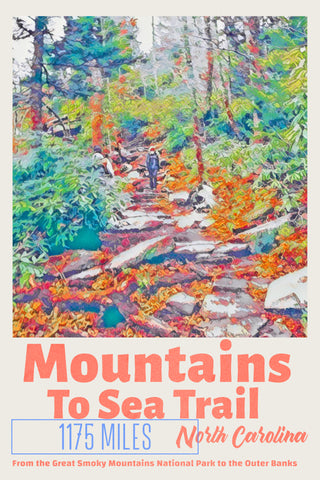 Mountains to sea hiking Trail North Carolina Poster