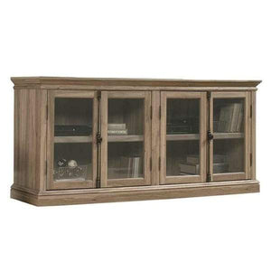 Salt Oak Wood Finish Console & TV Stand with Tempered Glass Doors-OliveBranchHome