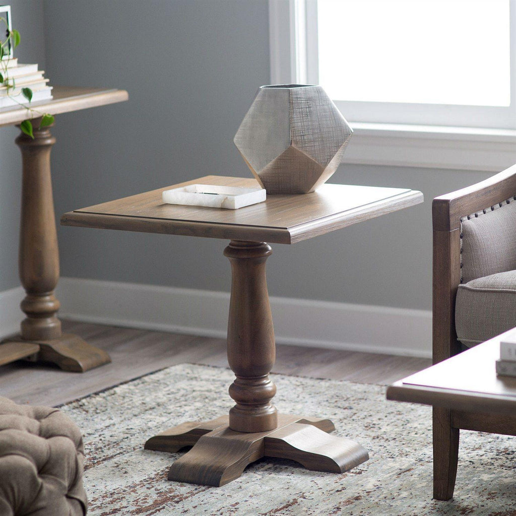 Driftwood Classic End Table with Pedestal Legs-Side Table-OliveBranchHome