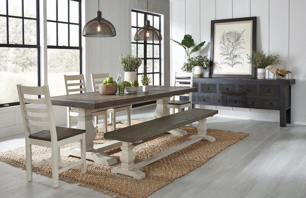 "Caleb Dining Table 94"" Two Tone EP"