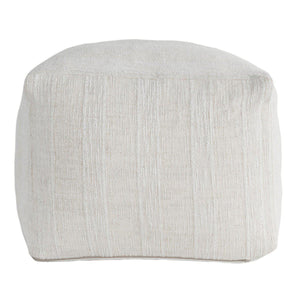 Heirloom Linen Ivory Pouf 18x18x14