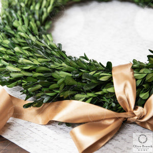 20 Inch Large Green Preserved Boxwood Wreath-Preserved Wreath-OliveBranchHome