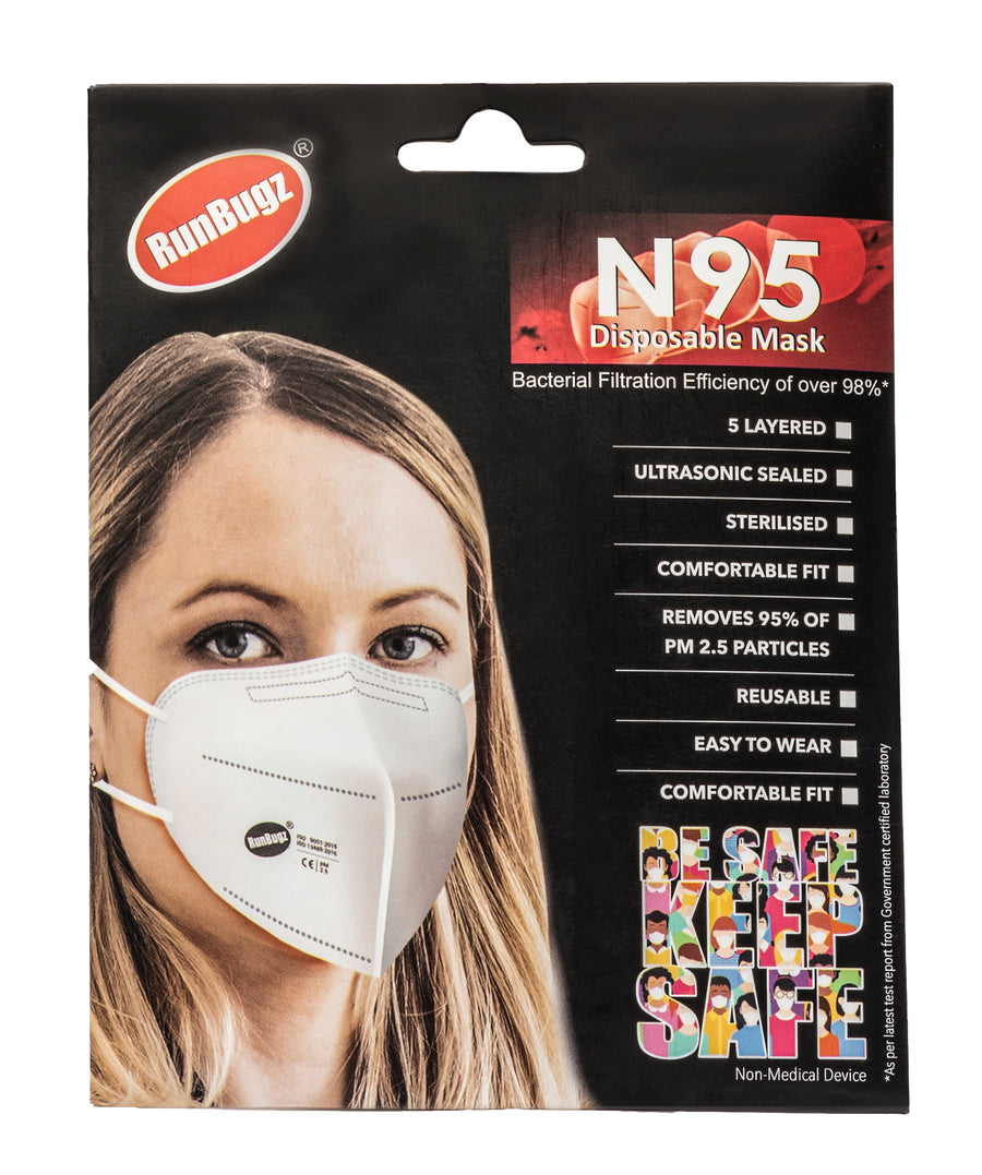 RunBugz White N-95 Face Mask  With 5 Layer Protection, (Pack of 3)