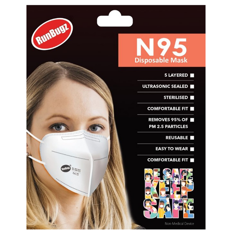 RunBugz White N-95 Face Mask With 5 Layer Protection, (Pack of 1)