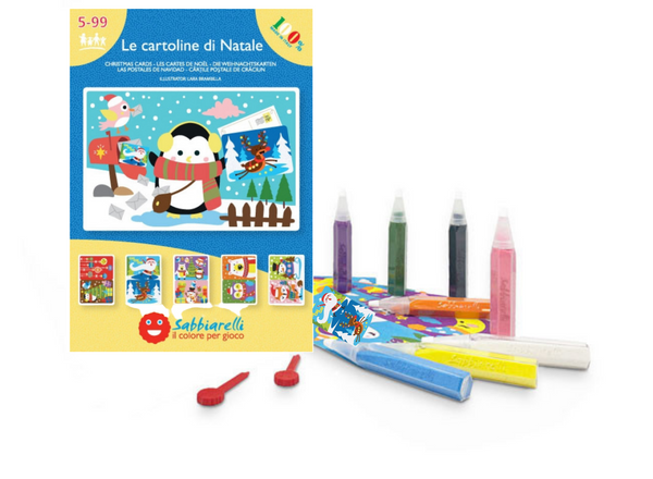 Eco-Friendly Magic Sand Colouring Christmas Cards Set, 5l+