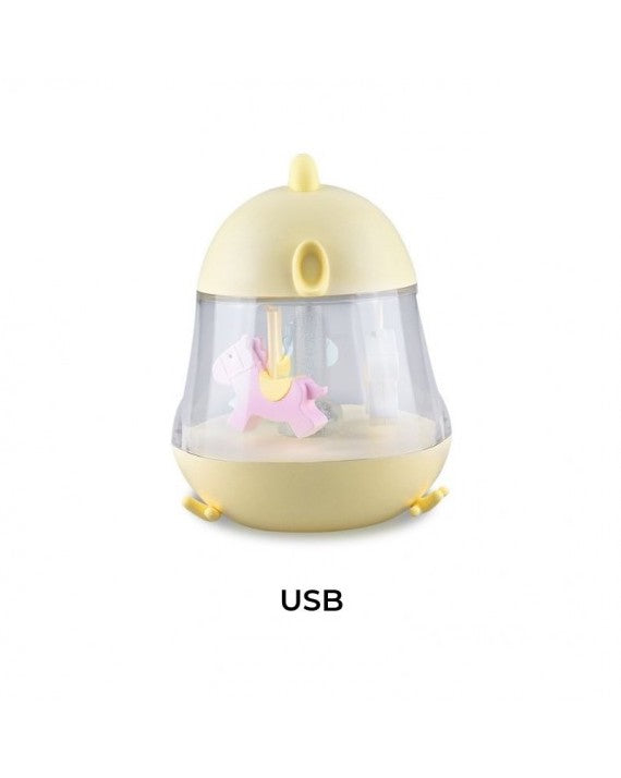 Lamp With Music  Box and Carousel, Cream