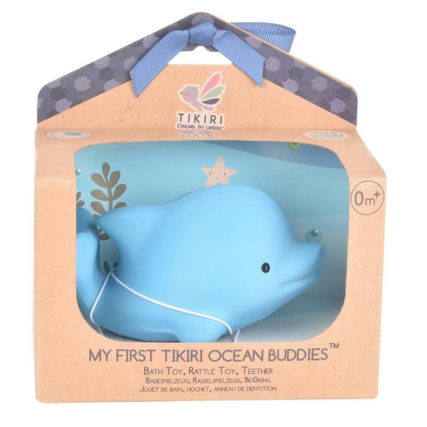 Natural Rubber Baby Rattle & Bath Toy, Dolphin