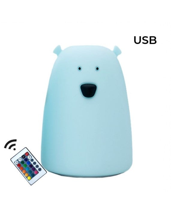 Teddy Bear Silicone Lamp + Remote Control, Big Blue