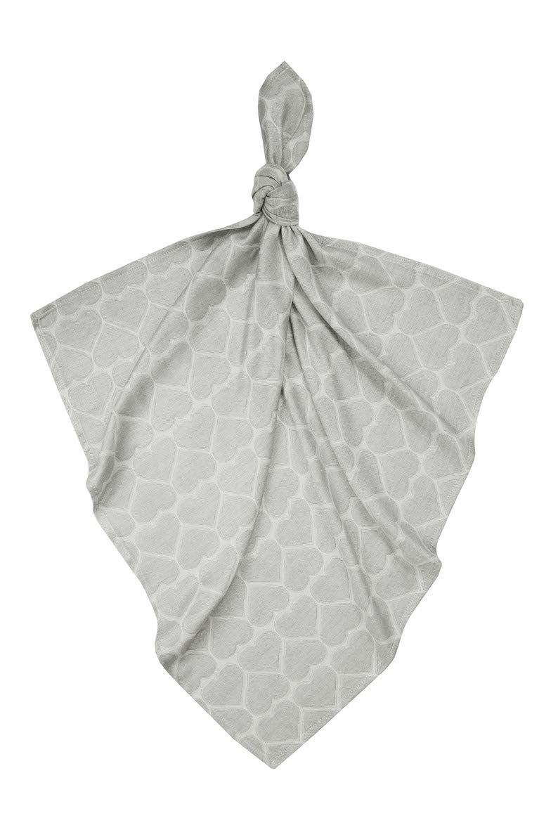 Bamboo Jacquard Swaddle, Hearts Silver