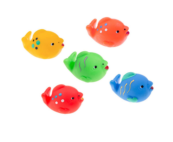Rubber Fish Toys for Bathing (with no holes), Set of 5