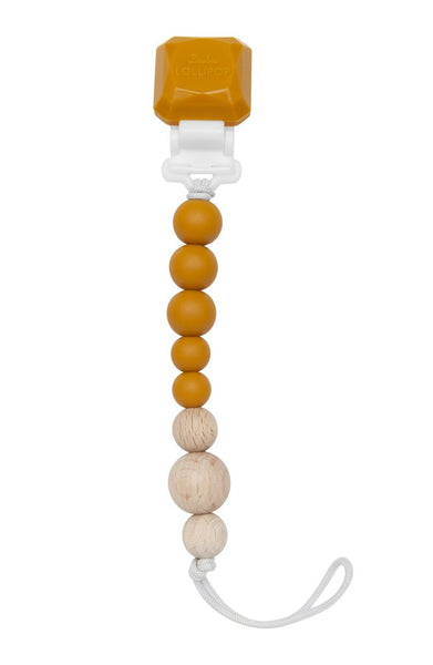Silicone & Wood Pacifier Clip - Golden Glow