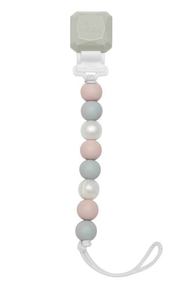Gem Silicone Pacifier Clip - Rose Grey