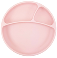 Stay Put Suction Silicone Plate with Portion Divider,  Pink