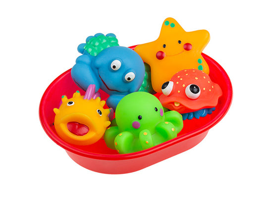 Rubber Sea Animals Toys for Bathing, Set of 5