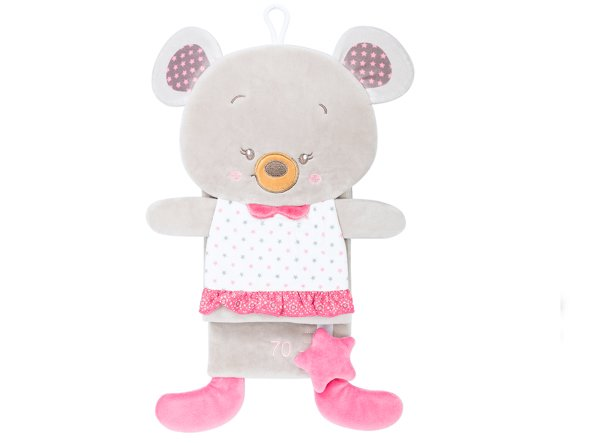 Toy Wall Height Measure, Plush Teddy Bear, Pink