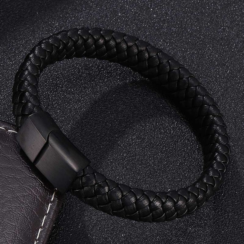 Punk Men Jewelry Braided Leather Bracelet Men Handmade Bracelet Trendy S.Steel Magnetic Clasp Male Leather Wristband Gifts PW740