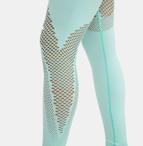 Fitness Long Sleeve Shirts and Mesh Leggings
