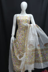 White base with Colored Designer Mehndi  Handblock Printed Cotton Kota Doria un-stitched Suit With Dupatta