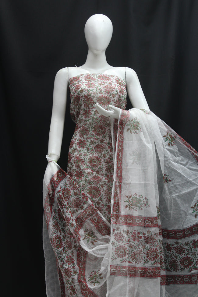 Royal Designer Handblock Printed Cotton Kota Doria un-stitched Suit With Dupatta