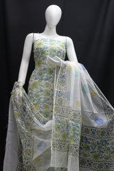 Green Blue Floral Designer Handblock Printed Cotton Kota Doria un-stitched Suit With Dupatta