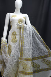 Royal Golden Mehndi Designer Handblock Printed Cotton Kota Doria un-stitched Suit With Dupatta
