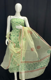 Royal Green Floral Designer Handblock Printed Cotton Kota Doria un-stitched Suit With Dupatta