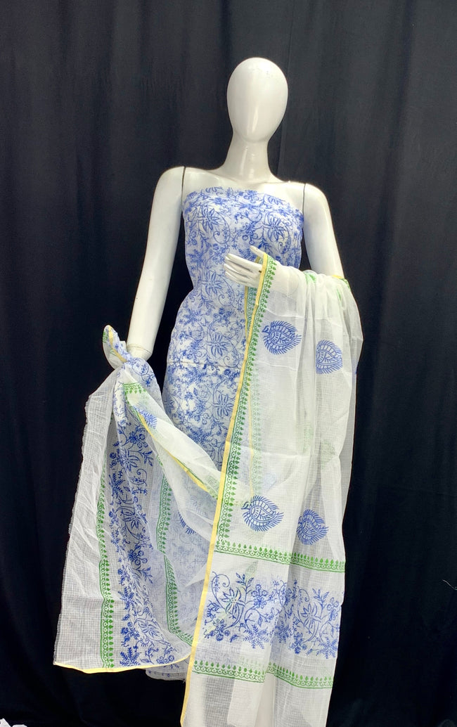 White Base with Blue Floral Designer Handblock Printed Cotton Kota Doria un-stitched Suit With Dupatta