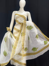Striped Floral Designer Handblock Printed Cotton Kota Doria un-stitched Suit With Dupatta
